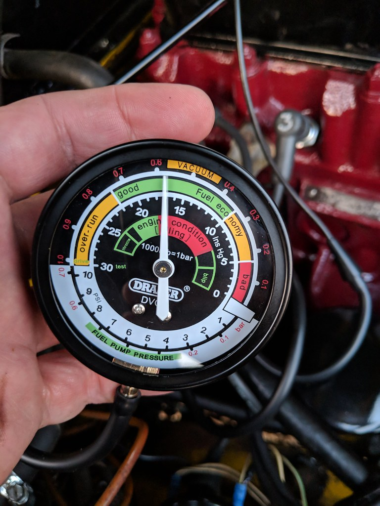 Vacuum gauge attached to the engine showing 17Ins Hg
