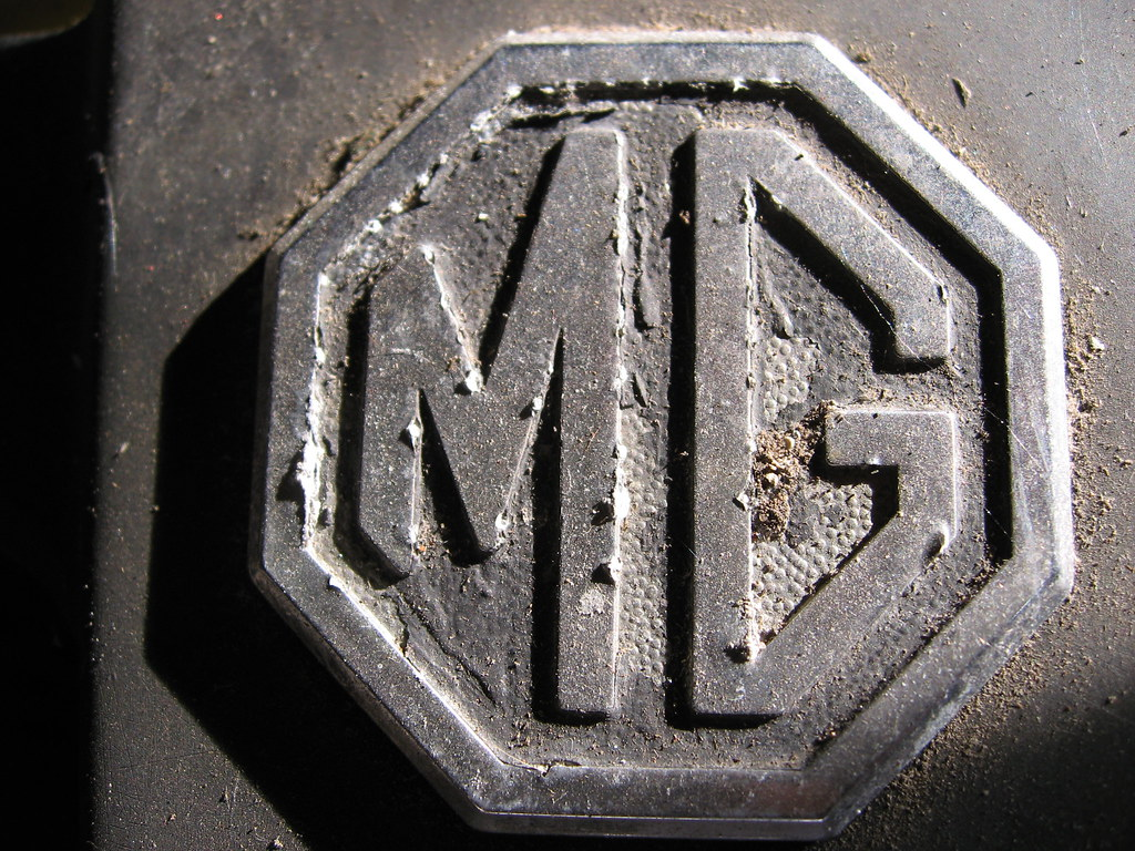 MG badge on the bumper, in need of some TLC