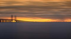 Sunset at resundsbron (Olof Virdhall) Tags: sun ocean bridge resundsbron outdoor water sky canon eos5 mkiii longexposure platinumheartaward