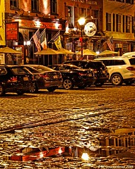 Night Reflections on Thames Street, Fells Point, Baltimore (PhotosToArtByMike) Tags: fellspoint thamesstreet cobblestonestreet baltimore maryland md fellspointnationalhistoricdistrict historicwaterfront waterfrontcommunity storefronts 18thand19thcenturyhomes rowhouses baltimoreharbor maritime