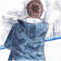 # 229 (16-08-2016) (h e r m a n) Tags: herman illustratie tekening bock oosterhout zwembad 10x10cm 3651tekenevent tegeltje drawing illustration karton carton cardboard back rug rucke ruggenfiguur ruckenfigur vrouw woman