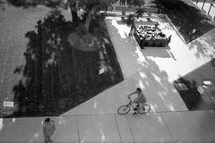 Memorial and cyclist, Toronto (Richard Wintle) Tags: foma fomapan 200 adonal adox blackandwhite bw monochrome film 135 35mm 38mm f35 canon sureshot sureshotmax toronto ontario canada downtown cityhall