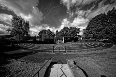 Bandstand (scottprice16) Tags: england lancashire clitheroe clitheroecastle castlepark bandstand lines curves blackwhite monochrome sonya7s voigtlander10mmf56 hyperwide heliar clouds sky trees