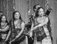 TRIO (panache2620) Tags: dancers ethnic india festival bw trio dancing monochrome 40mmcanon canonsl1 costume explorer