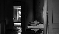 CHM 2 ( temps partiel) Tags: sanatorium abandoned urbex exploration coridor hall decay colors lights bathroom black white door window sink blachandwhite corridor indoor forgotten