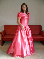 Joyce (Paula Satijn) Tags: girl dess gown pink satin silk shiny beauty gorgeous hot ballgown skirt lady elegance brunette cute sweet adorable