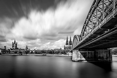 Cologne (photogo.pl) Tags: cologne river bridge church dom catedral bw longexposure water time monochrome architecture