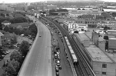 DLR from the air-line (DH73.) Tags: emirates air line docklands light railway west silvertown pontoon dock london thames docks olympus om2 50mm zuiko f18 eastman doublex 5222 ilford id11 11 10mins 68degreesf
