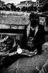 Beggar (stimpsonjake) Tags: nikoncoolpixa 185mm streetphotography bucharest romania city candid blackandwhite bw monochrome piataunirii beggar homeless man metro