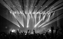 Faithless (Kate's Adventure) Tags: concert gigs gig evening stage night lights bw lazers hands people crowd