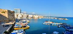 Summer time at Gallipoli (www.nathalie-chatelain-images.ch) Tags: italie italia italy pouilles puglia gallipoli mer sea bleu blue port marina bateaux boats ville city nikon panorama ngc