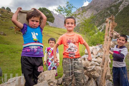 Children near Artuch Base Camp, Fann Mountains, Tajikistan.