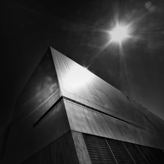 Midnight Sun (TroyMason) Tags: architecture blackandwhite daylight fineart pacificave sunspot tacoma tacomaartmuseum city downtown urban sun moody perspective hot building shadow