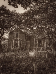 derelict house, Stromness (ingrid_b21) Tags: derelict iphone snapseed sepia blackandwhite orkney abandoned abandonedscotland