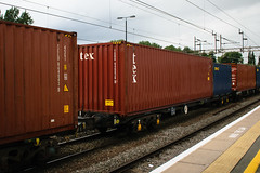 92633 Northampton 040816 (Dan86401) Tags: 92633 rls92633 92 kfa freightliner fl intermodal modal container flat wagon freight rls standardwagon touax northampton wcml 4o17 tex