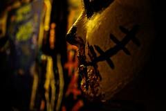 ([gegendasgrau]) Tags: mood atmo atmosphere ambiance stimmung natur nature colors farben melancholie melancholy human mensch mädchen frau girl person candid halloween schminke party feier club scar narbe bokeh detail mund mouth nose nase angle dortmund 2014