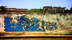 4545: Street Art (Atul Sabnis) Tags: facebookprofile flickr street art grafiti puducherry pondicherry wall blue geometry abstract