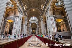 Rome, Italy- Interior view of (New) St. Peter's Basilica located in Vatican City (an enclave of Rome). Begun by Pope Julius II, St. Peter's is dedicated to the Apostle Peter and is built in the form of a Latin cross filled with Renaissance and Baroque mas (Remsberg Photos) Tags: europe italy rome ancient ancientcivilization roman architecture buitstructure tourist sightseeing photography history historical internationallandmark capitolcity romaprovince ancientrome art church religion basilica stpetersbasilica newstpetersbasilica vaticancity pope popejuliusii apostle pilgrimage michelangelo peter renaissance baroque interior painting sculpture holy gold ita