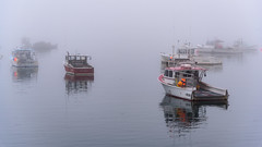 Lobsterboats in the afternoon fog (Brett of Binnshire) Tags: commercialfishingboat prospectharbor usa hancockcounty ocean locationrecorded water gouldsboro boat maine weather lobsterboat fog