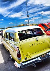 1956 Chrysler New Yorker (Chad Horwedel) Tags: 1956chryslernewyorker chryslernewyorker chrysler newyorker classic wagon car stationwagon yellow roadkillnights roadkill kansascityspeedway kansascity kansas