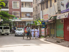 Early morning walk to work (karla.hovde) Tags: dhaka bangladesh asia travel urban city street morning early school children rickshaw