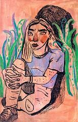 Corner (nuagedanse) Tags: portrait draw paint pink corner saturday colors love illustrations