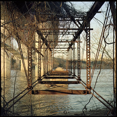 (Ansel Olson) Tags: bridge light sun 6x6 mamiya tlr film mediumformat river print james golden virginia kodak richmond va hour belle medium format portra isle rva trusses 160 c330 80mmf28 richmondcity autaut