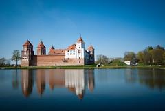The Castle Of Mir (lemmingby) Tags: blue sky castles water buildings reflections spring pond skies historic belarus mir landmarlks