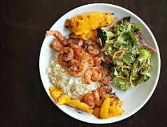 Dinner! (WeeLittlePiggy) Tags: food dinner salad rice shrimp mango seafood
