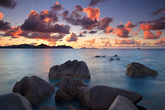 La Digue Sunset II (rgarrigus) Tags: longexposure sunset seascape landscape island islands coast rocks indianocean shoreline coastal coastline seychelles crepuscule settingsun ladigue praslin coucherdusoleil greatphotographers coastscape garrigus robertgarrigus robertgarrigusphotography basiesteanne