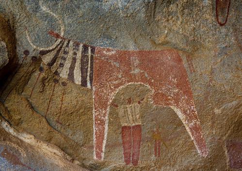 Laas Geel Rock Art Caves, Paintings Depicting Cows And Human Beings Somaliland