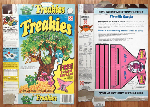 1975 Ralston Freakies Cereal Box Gargle airplane