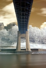 (Charlie_Grant) Tags: bridge trees sky water river newcastle long exposure elizabeth metro symmetry tyne gateshead queen ii infrared upon quayside hoya r72