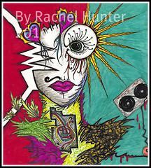 Synthroid (Rachel Hunter Sharpie Art Creations) Tags: music woman abstract man eye art broken design robot rachel artwork colorful artist graphic drawing unique designs hunter sharpie casette android creations artistry thyroid synthroid