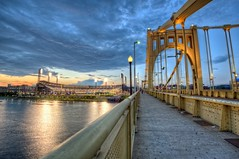 Roberto Clemente Bridge and PNC Park HDR (Dave DiCello) Tags: beautiful skyline photoshop nikon pittsburgh tripod usxtower christmastree northshore bluehour nikkor hdr highdynamicrange pncpark pittsburghpirates cs4 steelcity photomatix beautifulcities yinzer cityofbridges tonemapped theburgh pittsburgher colorefex cs5 ussteelbuilding beautifulskyline d700 thecityofbridges pittsburghphotography davedicello pittsburghcityofbridges steelscapes beautifulcitiesatnight hdrexposed picturesofpittsburgh cityofbridgesphotography