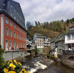 The Red House of Monschau (Bn) Tags: park street houses red house castle nature river germany walking geotagged town spring topf50 scenery day cloudy north ruin haus charm eifel historic ruine valley hillside quaint picturesque venn haller fortress narrow monschau duitsland unchanged hedges rote timbered roer rur stiftung hohes rhinewestphalia 50faves schilderachtig noordrijnwestfalen scheiblermuseum geo:lon=6241248 geo:lat=50554619