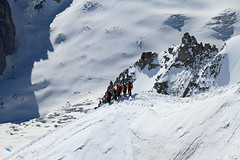 On the ridge (Stefsan (on and off)) Tags: snow france mountains alps ice canon ridge glaciers mountaineering chamonix aiguilledumidi mountaineers valleblanche eos7d stefsan stefansandmeier massivmontblanc