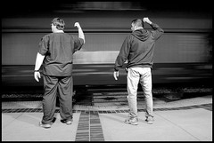 To Be Determined (greenthumb_38) Tags: blackandwhite bw man men train blackwhite platform trains amtrak trainstation duotone fullerton railfan apr railfanning foamer foamers aprf jeffreybass