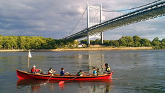 Canoers Under Triborough Bridge on Randalls Island (americasroof) Tags: june25 triboroughbridge 201206