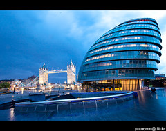 London City Hall (Popeyee) Tags: pictures city uk bridge blue sunset england urban building london tower thames architecture modern night river photography evening hall twilight flickr gallery cityscape different foto photographer image mayor photos unitedkingdom dusk authority capital picture images norman architect foster hour greater bluehour shape southwark gla assembly popeyee