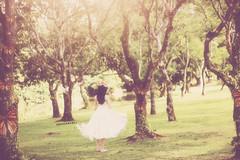 Day 354/365 ~ (Amanda Mabel) Tags: trees light white girl grass rose forest vintage butterfly spring woods day glow dress bokeh magic dream manipulation skirt garland fairy fantasy barefoot ethereal 365 wonderland 355 amandamabel