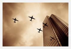 July 14th, airshow over La Dfense (Guillaume VX) Tags: color reflection clouds buildings airplanes reflet nuages couleur ladfense lightroom avions btiments