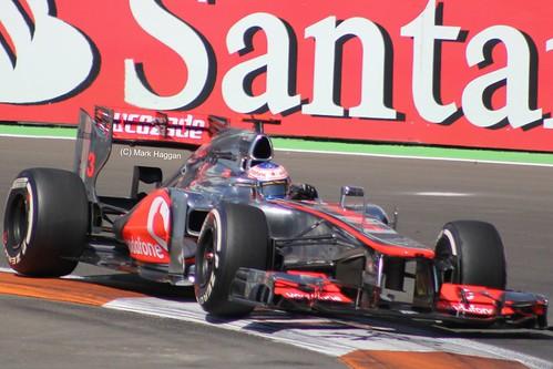 Jenson Button in his McLaren F1 car at the 2012 European Grand Prix at Valencia