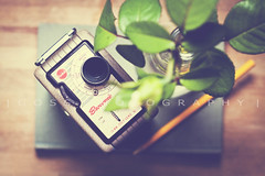 Sometimes all we need is a little time for thoughts and creativity... (Julia Goss Photography) Tags: camera stilllife flower pen vintage book camcorder