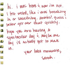 Fake Roommte (Wires In The Walls) Tags: 2003 sarah handwriting note roomate zoinks