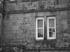 Window Wedding (Grumpy O M) Tags: stone wall windows olympusstylus1 castellations dolls wedding bride bridegroom bridesmaids blackandwhite monochrome countryestates
