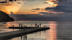 Just Another Sister Bay Sunset (Madison Guy) Tags: sunset water pier sisterbay people silhouettes boat wi