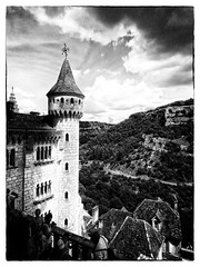 A Rocamadour View (Missy Jussy) Tags: southcentralfrance france rocamadour view scenery sky clouds buildings architecture hills people tourism tourists tower historical history mono monochrome blackwhite bw canon canonpowershotsx60 landscape