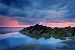 A Break In The Storm. (Andy Bracey -) Tags: bracey andybracey abreakinthestorm cornwall fistral fistralbeach beach sea atlantic coast coastal reflections storm sunset rocks rock rockpool pool longexposure seascape landscape leefilters littlestopper mirroed sun red nikon d3s