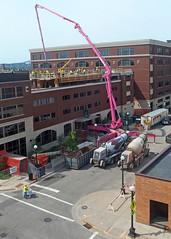 Pink Pumper (DewCon) Tags: construction cementwork cementtruck birdseyeview
